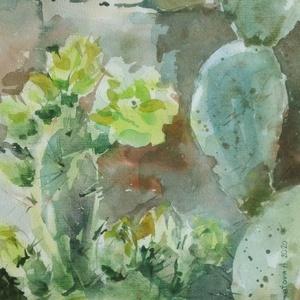 Virágzó kaktuszok, 2020, Művészet, Festmény, Akvarell, Festészet, Csendélet. Akvarell, papír, 32,5 x 50 cm, Meska