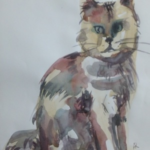 A Spotted Cat, 2020, Művészet, Festmény, Akvarell, Akvarell, papír, 21 x 29,5 cm, Meska