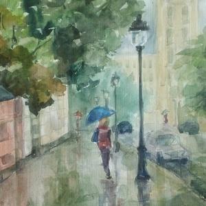 Rainy Streets, 2020, Művészet, Festmény, Akvarell, Városkép, akvarell, papír, 50 x 32,5 cm, Meska