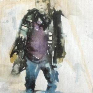 Diák, 2020, Művészet, Festmény, Festmény vegyes technika, akvarell, tinta, papír, 25 x 32,5 cm, Meska