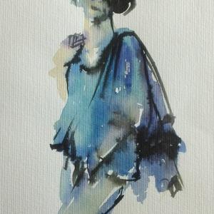 Egy fiatal nő, 2020, Művészet, Festmény, Festmény vegyes technika, akvarell, tinta, papír, 25 x 32,5 cm, Meska