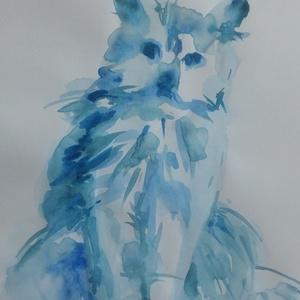 Kék macska, 2020, Művészet, Festmény, Akvarell, akvarell, papír, 21 x 29,5 cm, Meska