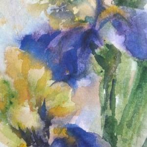 Íriszek, 2019, Művészet, Festmény, Akvarell, akvarell, papír, 20,5 x 29 cm  NOTE: the color scheme is violet and yellow (not blue as the photo de..., Meska