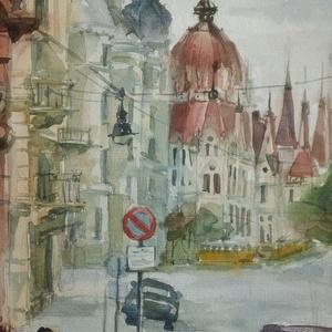 Budapest, View on Parliament, Akadémia u., 2020, Művészet, Festmény, Akvarell, Akvarell, papír, 32,5 x 50 cm, Meska