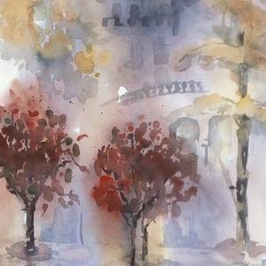 Pink Morning, 2019, Művészet, Festmény, Akvarell, Városkép. Akvarell, papír, 35 x 50 cm, Meska
