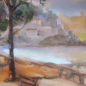 Quiet Evening, 2020, Művészet, Festmény, Akvarell, Városkép. Akvarell, papír, 32 x 50 cm, Meska