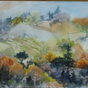 September 2020, Művészet, Festmény, Akvarell, Tájkép. Akvarell, papír, 29.5 x 20.5 cm, Meska