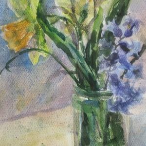 Spring Flowers, 2018, Művészet, Festmény, Akvarell, Csendélet. Akvarell, papír, 24.5 x 34 cm, Meska