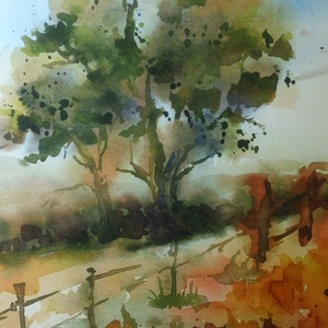Village Road, 2020, Művészet, Festmény, Akvarell, Tájkép. Akvarell, papír, 31.5 x 24 cm, Meska