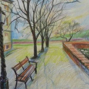 Early Sunset, 2020, Művészet, Grafika & Illusztráció, Színes ceruzák, papír, 21 x 29.5 cm, Meska