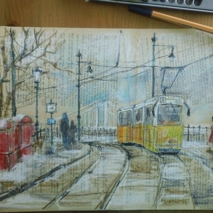 Budapest Tram #2, 2021, Művészet, Grafika & Illusztráció, Fotó, grafika, rajz, illusztráció, Filctoll, kréta, könyvpapír, 36 x 24.5 cm, Meska