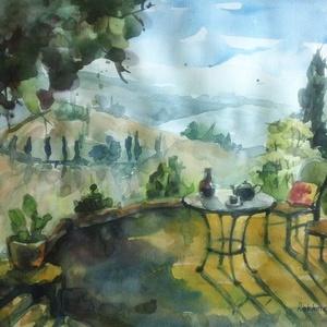 Summer Heat, 2021, Művészet, Festmény, Akvarell, Akvarell, papír, 41.5 x 29.5 cm, Meska