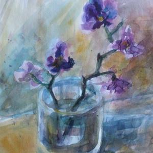 Orchidea, 2019, Művészet, Festmény, Akvarell, Akvarell, papír, 35 x 24 cm, Meska