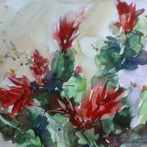Karácsonyi kaktusz (Schlumbergera),  2020, Művészet, Festmény, Akvarell, Akvarell, papír, 34.5 x 25 cm, Meska