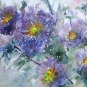 Őszirózsák, 2019, Művészet, Festmény, Akvarell, Akvarell, papír, 35 x 24 cm, Meska