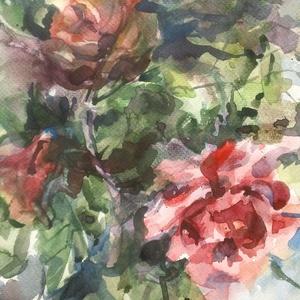 Rózsa, 2021, Művészet, Festmény, Akvarell, Akvarell, papír, 25 x 35.5 cm, Meska