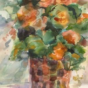 Begonia, 2017, Művészet, Festmény, Akvarell, Akvarell, papír, 35 x 50 cm, Meska