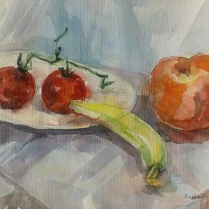 Csendélet, 2020, Művészet, Festmény, Akvarell, Akvarell, papír, 50 x 32 cm, Meska