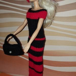Barbie babaruha, Gyerek & játék, Játék, Baba játék, Baba, babaház, Kötés, Kézzel kötött, piros-fekete, színházi ruha Barbie babának, kiegészítőkkel., Meska