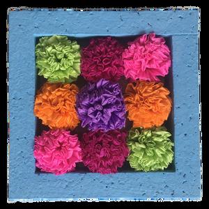 Virágcsokor krepp papírból hungarocell keretben, Otthon & Lakás, Dekoráció, Asztaldísz, Festett tárgyak, Papírművészet, Virágcsokor krepp papírból hungarocell keretben, melyet az asztalon is elhelyezhetsz, vagy a falra i..., Meska