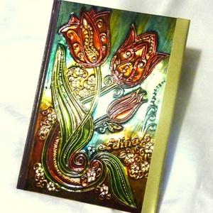 napló, jegyzetfüzet tulipános  (alkotni) - Meska.hu