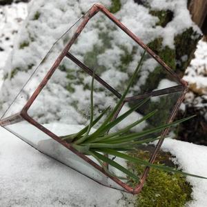 Üveg Florárium, Kocka alakú, Újrahasznosított, Otthon & Lakás, Ház & Kert, Cserép & Kaspó, Újrahasznosított alapanyagból készült termékek, Üvegművészet, Bontott ablaküvegből készült üveg florárium, terrárium, mely tiffany technikával készült, szabályos,..., Meska