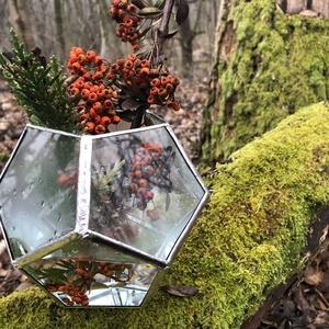 Üveg Florárium, Ötszög alakú, Geometrikus, Otthon & Lakás, Ház & Kert, Cserép & Kaspó, Újrahasznosított alapanyagból készült termékek, Üvegművészet, Bontott ablaküvegből, tiffany technikával készül florárium, terrárium. \n\nEz az ötszögű szépség türel..., Meska