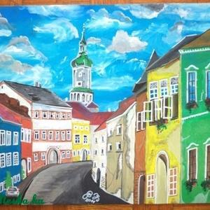 soproni utca festmény, Festmény vegyes technika, Festmény, Művészet, Festészet, furnér lemezre temperával készített élénk színekkel kidolgozott festmény.\nkeret óarany színnel 5cm s..., Meska