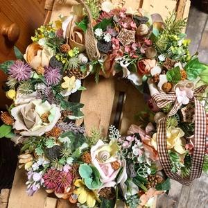 Ajtódísz minden évszakban, Otthon & Lakás, Dekoráció, Ajtódísz & Kopogtató, Vesszőalapon virágokkal, , Meska