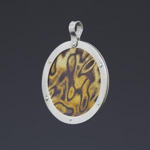Ezüst és réz-sárgaréz mokume-gane medál nagyméretű , Ékszer, Medál, Ékszerkészítés, Ötvös, Különleges réz-sárgaréz mokume-gane medál ezüst keretben. A mokume-gane egy japán eredetű technika, ..., Meska