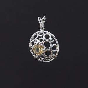 Domborított modern buborékos ezüst medál citrinnel, Ékszer, Medál, Ékszerkészítés, Ötvös, Abszolút egyedi kupola formájú ezüst medál a közepén egy csodaszép citrin nevű drágakővel. Az ékszer..., Meska