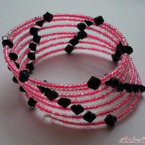 Rózsaszín - Fekete memória karkötő, Ékszer, Karkötő, Ékszerkészítés, Rózsaszín kása és fekete kúpos akril gyöngyből fűzött memóriadrótos karkötő. 6,5 körös...., Meska