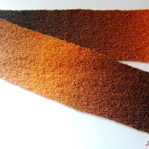 Barna, narancs melírozott kötött sál, Táska, Divat & Szépség, Ruha, divat, Sál, sapka, kesztyű, Sál, Kötés, Barna-narancs színátmenetes, buklé fonalból kötött sál. UNISEX! Mérete 150 cm x 17 cm. Acryl...., Meska