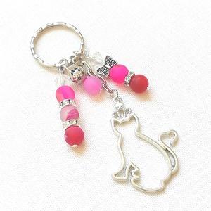 Cicás kulcstartó, Táska, Divat & Szépség, Kulcstartó, táskadísz, Ékszerkészítés, Cicás kulcstartó rózsaszín achát ásvánnyal, csillogó köztesekkel, fém gyöngyökkel, ajándék díszcsoma..., Meska