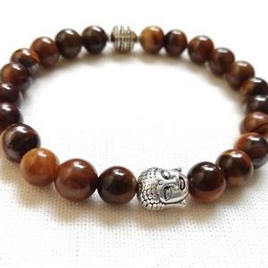 Tigrisszem ásvány karkötő férfiaknak, férfi ásvány karkötő Buddha díszítéssel, egyedi ásvány karkötő, Ékszer, Karkötő, Férfiaknak, Ékszer, kiegészítő, Ékszerkészítés, Gyöngyfűzés, gyöngyhímzés, Ásvány karkötő 8mm-es természetes tigrisszem ásványgyöngyökből, ezüst színű Buddha fejjel és fém gyö..., Meska