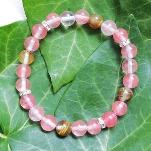 Cseresznyekvarc ásvány karkötő, rózsaszín ásvány karkötő, egyedi ásvány karkötő, Ékszer, Karkötő, Rózsaszín ásvány karkötő 8mm-es cseresznyekvarc gyöngyökből, ezüst színű csillogó fém köztesekkel, e..., Meska