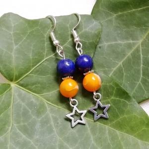 Csillagok, csillagok... - kaglyóhéj gyöngy - lapis lazuli ásványfülbevaló, féldrágakő ásvány fülbevaló, Ékszer, Fülbevaló, Egyedi ásvány fülbevaló 8mm-es természetes kék lapis lazuli ásvány és sárga, festett kagylóhéj gyöng..., Meska