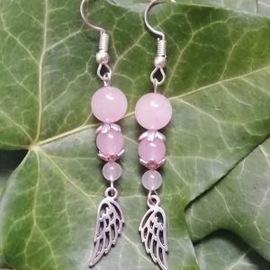 Rózsakvarc ásvány fülbevaló, angyalszárnyas féldrágakő ásványfülbevaló (amethysta) - Meska.hu