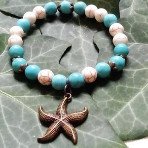 Türkiz - fehér ásvány karkötő tengeri csillag medállal,nyári ásvány karkötő, howlit ásvány karkötő egyedi ásvány karkötő (amethysta) - Meska.hu