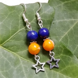 AKCIÓ - Csillagok, csillagok... - kaglyóhéj gyöngy - lapis lazuli ásványfülbevaló, féldrágakő ásvány fülbevaló, Ékszer, Fülbevaló, 1800 helyett 1500 Ft, 07.31-ig. Egyedi ásvány fülbevaló 8mm-es természetes kék lapis lazuli ásvány é..., Meska