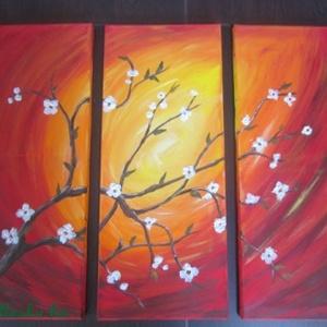 Virágzó cseresznyefa - akrilfestmény, Művészet, Festmény, Akril, Festészet, Festett tárgyak, Három részes, fakeretre feszített vászonkép, akrillal festett.\n3 db 25 x 60 cm\nA virág struktúrpaszt..., Meska