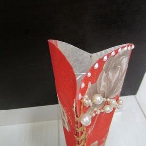 Piros, barna rózsás, gyöngyös lámpa (ametisztkreativ) - Meska.hu