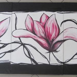 Tavaszi magnóliák - három részes festmény, Művészet, Festmény, Akril, Festett tárgyak, Festészet, Fakeretre feszített festővászonra, művész akril festékkel festettem a viágzó tavaszt idzéző magnóliá..., Meska
