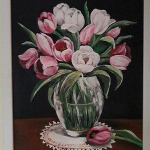 Tulipáncsokor, Művészet, Festmény, Akril, Festett tárgyak, Festészet, 40 x 30 cm farostra készített akrilfestmény.\nFehér kerettel.\n\nSzemélyes átvétel a XX. XXIII. Xi. ker..., Meska