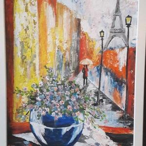 Álmomban Párizsban, Művészet, Festmény, Akril, 40 x 30 cm akrilfestményem farostra, keretezve. A képet vegyes technikával , festőkéssel és ecsettel..., Meska