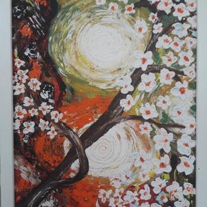 Virágzás - akril festmény, Művészet, Festmény, Akril, Festett tárgyak, Festészet, 40 x 30 cm farostra vegyes technikával készült festményem. Keretezve.\nA képet ecsettel és festőkésse..., Meska