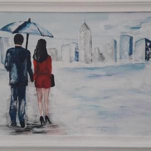 A város felé - akrilfestmény, Akril, Festmény, Művészet, Festett tárgyak, Festészet, 30 x 60 cm farostra készült akrilfestményem.\nFehérre festett fa keretben.\nModern, de mégis romantiku..., Meska