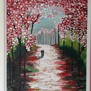 Kettesben - akril festmény, Művészet, Festmény, Akril, Festészet, Festett tárgyak, 55 x 45 cm farostra festett akrilfestmény.\nVegyes technikával, festőkéssel és ecsettel készült.\nFake..., Meska