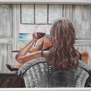 Énidő - akril festmény, Művészet, Festmény, Akril, Festészet, Festett tárgyak, 40 x 50 cm farostra festett akrilfestmény.\nVegyes technikával, festőkéssel és ecsettel készült.\nFake..., Meska