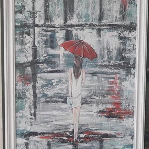 Piros esernyő - akrilfestmény, Akril, Festmény, Művészet, Festett tárgyak, Festészet, 80 x 60 cm farostra festett akrilfestmény.\nVegyes technikával, festőkéssel és ecsettel készült.\n4 cm..., Meska